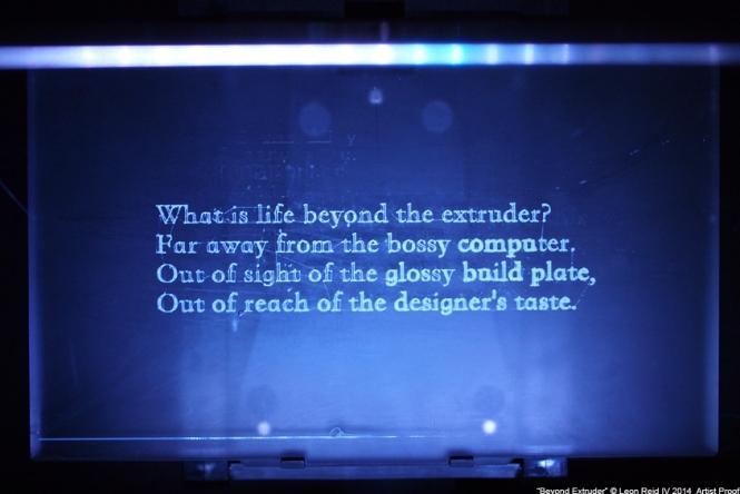 Leon Reid IV's 3D Printer Poetry