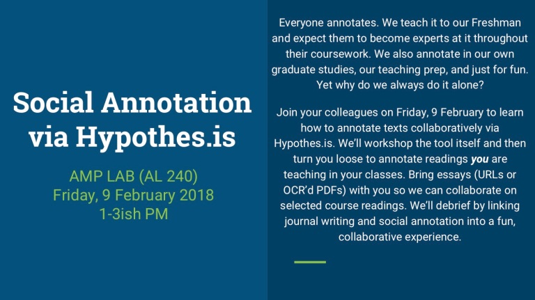 Social Annotation via Hypothes is – Advanced Media Production Lab